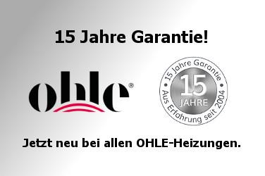 15 Jahre Garantie bei allen OHLE-Heizungen.